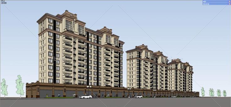 欧式高层公寓(72552)su模型下载