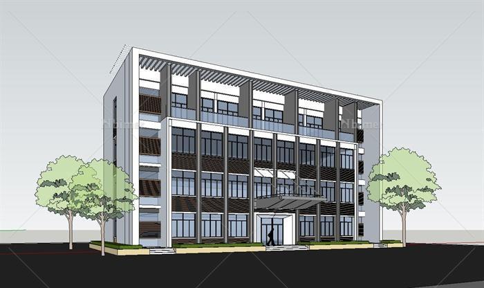 两栋现代四层办公楼建筑设计SU模型[原创]建筑设计师思想政治图片