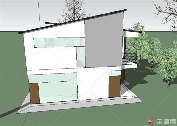 农村两层自建坡屋顶别墅建筑设计sketchup模型[原