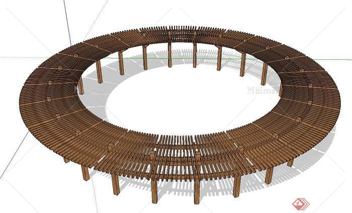 现代中式圆形廊架设计su模型