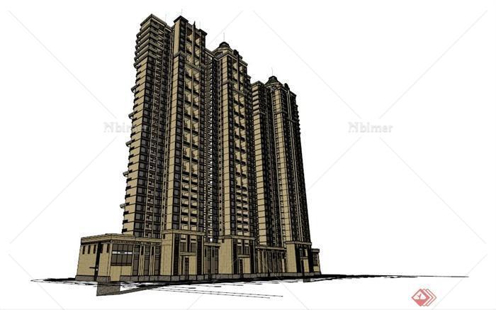 地中海风格高层住宅su模型[原创]