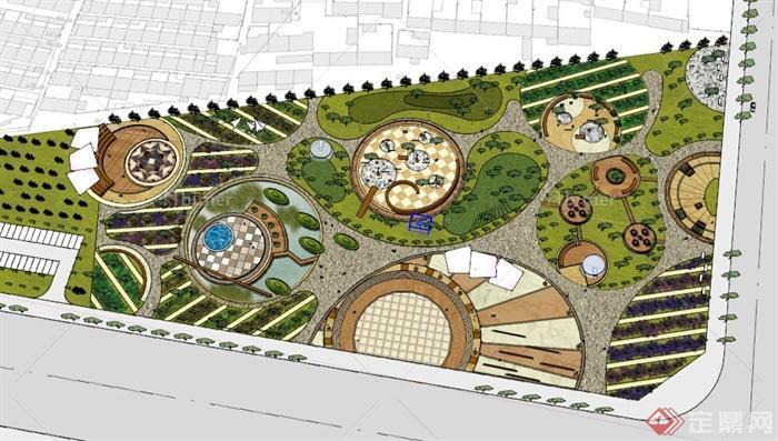 某现代梯形公园景观规划设计su模型图片