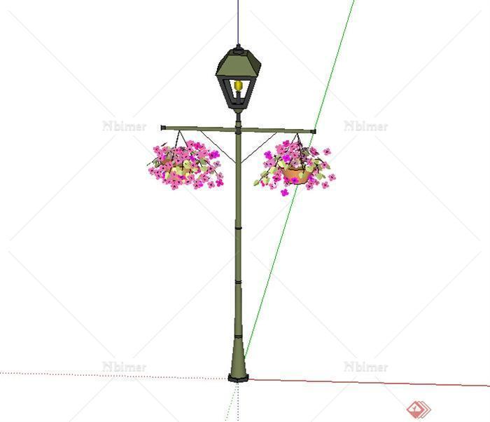 某个花篮路灯设计su模型素材