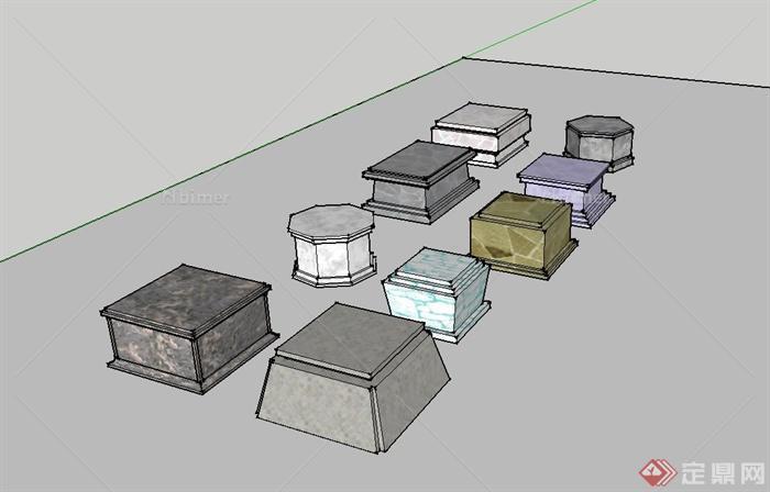 现代雕塑石墩模型地产风格v雕塑su小品[原创]景观设计多个图片