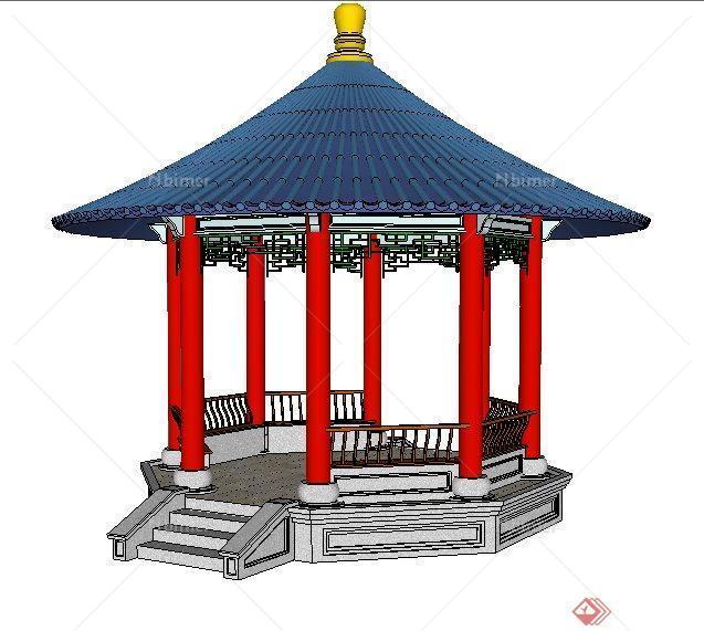 某园林景观中式圆顶亭子su模型