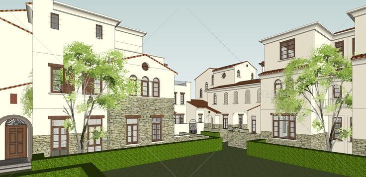 欧式风格合院别墅住宅sketchup模型