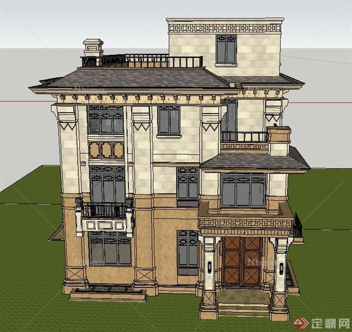 四层独栋模型建筑设计SU别墅[原创]华南建筑设计院南宁图片