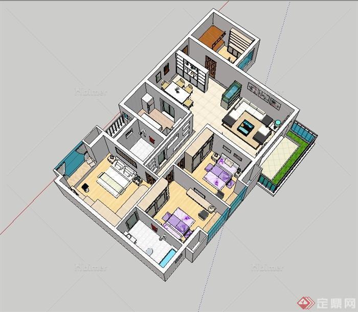 现代豪宅室内家装室内设计su模型[原创]图片