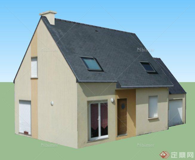 一栋现代民房住宅建筑设计su模型