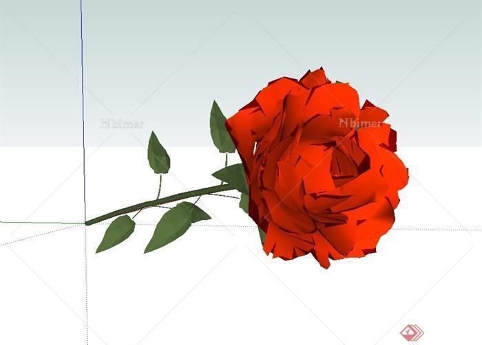 一束玫瑰花植物素材设计su模型[原创]