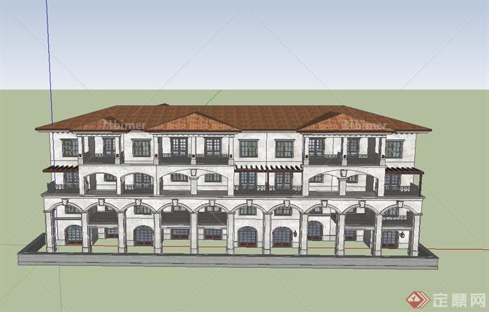 某四层联排别墅建筑设计SU地产模型平面设计年终计划图片