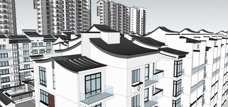 新中式风格高层住宅楼群建筑规划方案sketchup模图片