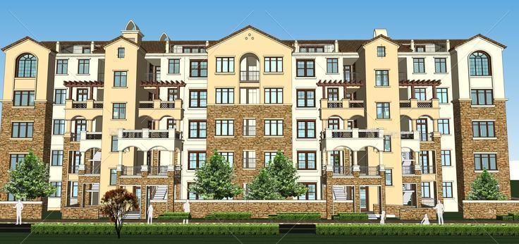 欧式风格多层住宅单体建筑设计sketchup模型