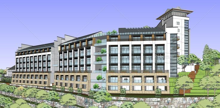 新中式风格山地多层酒店设计方案sketchup模型