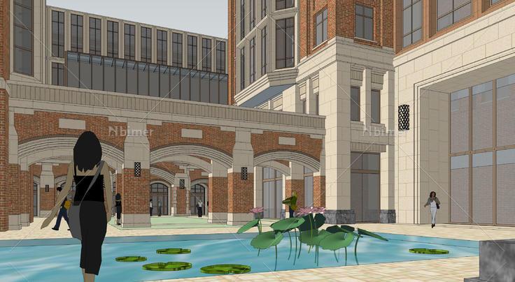 欧式风格高层教学楼建筑方案sketchup模型