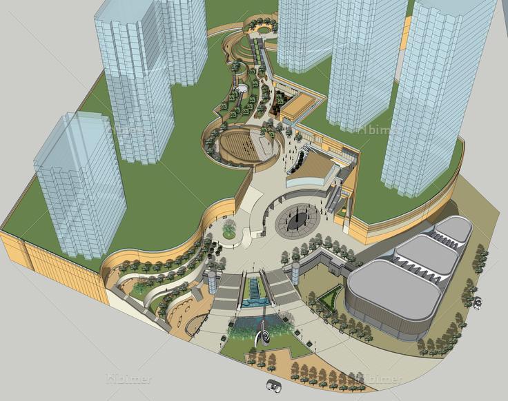 仿难波公园大型城市综合体sketchup模型