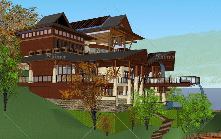 东南亚风格山地会所建筑sketchup模型