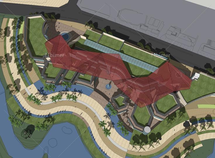 商业综合体建筑概念设计sketchup模型