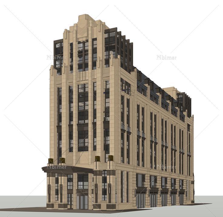 欧式古典风格高层商业建筑sketchup模型