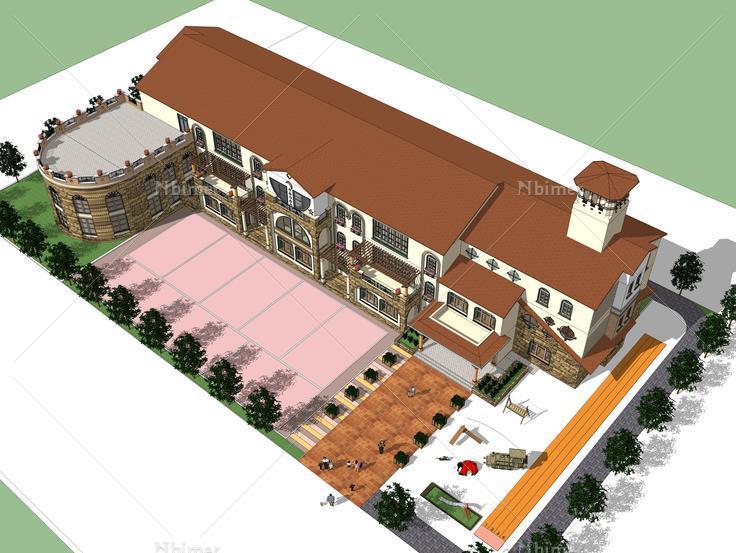 欧式幼儿园建筑sketchup模型