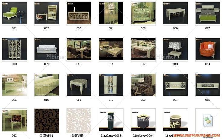 梁志天设计排版_经典中的经典-梁志天玲珑系列家具23个 - SketchUp模型库 - 毕马汇 Nbimer